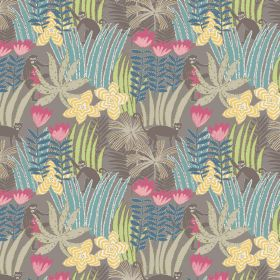 Jungle - Pebble - Pebble fabric made from cotton featuring monkeys, flowers and grass