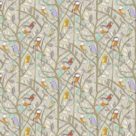 Tweety - Natural - Cotton fabric featuring tiny colorful birds on tree branches