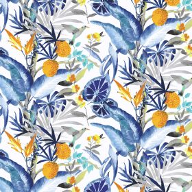 Madagascar - Blue - Elegant blue tropical pattern on linen and viscose fabric