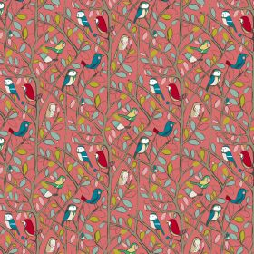 Tweety - Coral - Cotton fabric in coral displaying birds in various colors sitting on branches