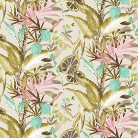 Madagascar - Coral - Linen and viscose fabric in white featuring bright exotic plants design