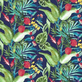 Madagascar - Navy - Navy blue linen and viscose fabric with green and red fruit motif
