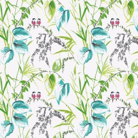 Love Birds - Tropical - Design featuring tiny lovebirds and colorful flowers on linen and viscose fabric