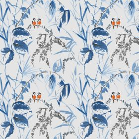 Love Birds - Porcelain - Orange lovebirds surrounded by blue flowers on viscose and linen fabric