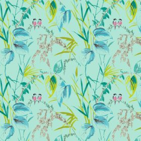Love Birds - Aqua - Linen and viscose fabric in aqua with pink lovebirds and green leaf pattern