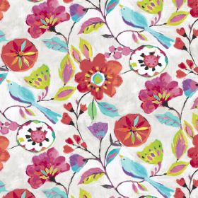 Dahlia - Rainbow - Linen and viscose fabric decorated with bright pink flowers and blue birds