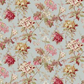 Azelea - Duckegg - Dusky shades of red, green, blue, gold and cream colouring a floral patterned fabric with a mixture of linen and viscose