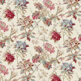 Azelea - Chintz - Cream coloured linen and viscose blend fabric behind blood red and dusky pink, blue and green flowers and leaves
