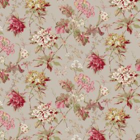 Azelea - Taupe - Floral patterned linen and viscose blend fabric with blood red and dusky shades ofgold, green, pink, cream and grey