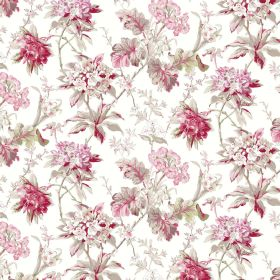 Azelea - White - Fabric made from white linen and viscose with a floral pattern in shades of pink, red and green