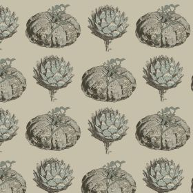 Pumpkin - Duckegg - Pumpkin and artichoke print linen and viscose blend fabric indifferent shades of grey on a putty coloured background