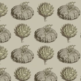 Pumpkin - Olive - Putty coloured linen and viscose fabric patterned with rows of grey pumpkins and dusky green artichokes