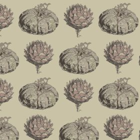 Pumpkin - Mauve - Pale, dusky pink and grey making up a pumpkin and artichoke design on a beige background made from linen and viscose fabric