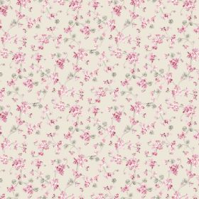 Annie - Ecru - Linen and cotton blend fabric in off-white, scattered with a tiny pink and green floral design