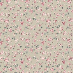 Annie - Beige - Tiny floral blossoms in dusky shades of pink and green scattered over fabric made from beige coloured linen and cotton