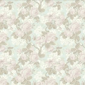 Liana - Duckegg - Subtle pastel pink, white and beige coloured floral patterns covering fabric made with a combination of linen and viscose