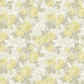 Liana - Lemon - Linen and viscose blend fabric covered in a floral design in pale shades of yellow, beige and white