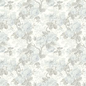 Liana - Blue - Fabric made from floral patterned linen and viscose with very pale, subtle colouring in shades of blue, white and grey