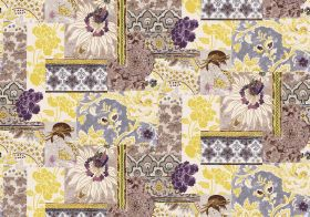 Geisha - Plum - Patchwork style fabric inyellow, grey, brown and purple shades, featuring geishas, geometric shapes, flowers and leaves