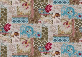 Geisha - Turquoise - Aqua blue, dark green, dark pink and beige geometric shapes, florals, leaves and geishas in this patchwork style fabric