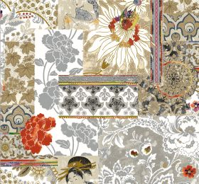 Geisha - Burnt Orange - Busy fabric with florals, leaves, geometric shapes and images of geishas in shades of grey, beige, terracotta and wh