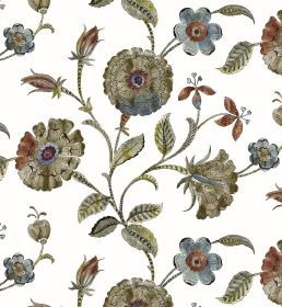 Henna - Ivory - White fabric patterned with circular flowers and leaves which are marbled indusky shades of blue, green and red