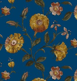 Henna - Cobalt - Floral print fabric with circular gold flowers and dark green leaves on a plain background in a rich blue colour
