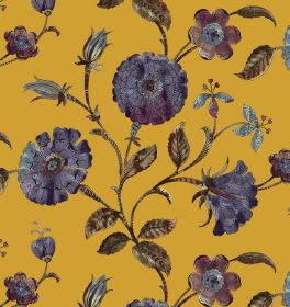 Henna - Burnt Amber - Fabric in a light pumpkin colour with a pattern of circular flowers in dark indigo, and dark brown-purple stems & leav