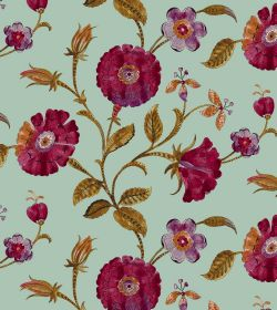 Henna - Azure - Dark pink-purple circular flowers printed withgreen-brown leaves and stems on a plain fabric in light, minty green