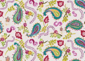 La Parisienne - Iceflower - Fabric in white printed with paisley shapes, swirls, flowers and leaves inturquoise, green, yellow and pink-purpl