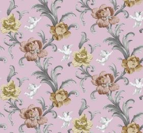 Arabesque - Pink - Light pink-purple fabric printed with white cherubs, silver leaves and gold and bronze coloured flowers