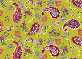 La Parisienne - Chartreuse - Vibrant fabric with a lime green background and dark pink and purple flowers, leaves, swirls and paisley shapes