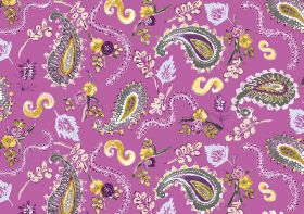 La Parisienne - Candyfloss - Paisley shapes, swirls, leaves and flowers in shades of grey, white, yellow and purple on a magenta fabric back