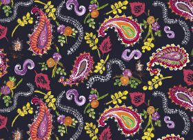 La Parisienne - Midnight - Rich pink, orange, green, purple and yellow paisley shapes, swirls, leaves and flowers on a background of black f