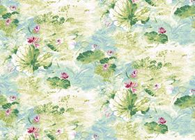 Serenity - Aqua - Floral fabric with a watercolour style effect in light blue, cream and different shades of green