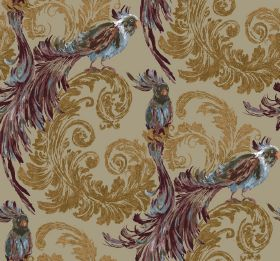 Treasure - Natural - Fabric in khaki, patterned with gold swirling leaves and large, mainly brown, exotic birds with sweeping tail feathers