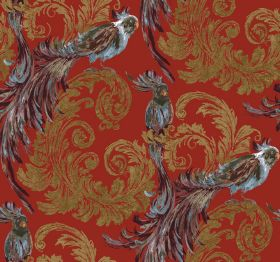 Treasure - Terracotta - Luxurious fabric with gold swirling leaves on a scarlet background, with exotic grey-blue coloured birds with long t