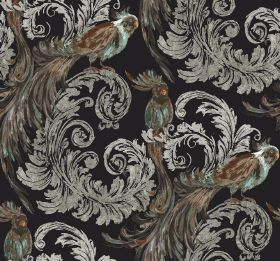 Treasure - Ebony - Grey swirling leaves printed with exotic birds with long tails, mainly coloured dark brown, on a black fabric background