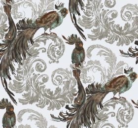 Treasure - Ivory - Dark brown coloured birds with long tail feathers, printed with light grey swirling leaves on fabric in white