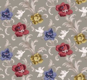 Arabesque - Taupe - White cherubs printed with plumes of shaded grey leaves and flowers in indigo, dark red and yellow-green, on grey fabric