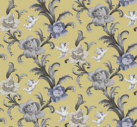 Arabesque - Lemon - Flowers and plumes of leaves in different shades of grey, printed with white cherubs on green-yellow fabric