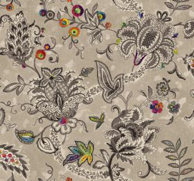 Baroque - Mono - A few bright, multicoloured circles, flowers and leaves on an otherwise grey, beige and cream fabric with a busy pattern