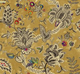 Baroque - Glod - A green-gold fabric background to a busy dark grey and cream pattern with some multicoloured circles, flowers and leaves