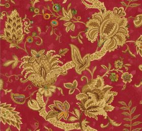 Baroque - Raspberry - Ornate, intricate, busy patterns in gold on fabric in a deep crimson colour with occasional highlights of green & oran