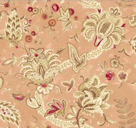 Baroque - Chiffon - Busily patterned fabric featuring colours such as light yellow, cream, brown, dark pink, light orange-pink and orange