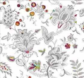 Baroque - White - White fabric with a busy, intricate pattern outlined in grey with bright, multicoloured highlights on leaves and circles