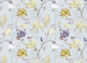 Bamboo - Periwinkle - Floral print fabric in light blue, with a large, repeated, light green and white design