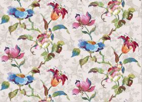 Lotus - Beige - Subtly patterned beige coloured fabric printed with bright, multicoloured flowers in blue, pink, orange and green shades