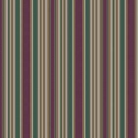 Patience Stripe - Taupe - A design of dark purple, teal and grey stripes printed vertically on this fabric