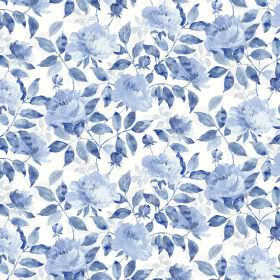 Peony Cotton Satin - Porcelain - White fabric with different shades of blue making up a floral print pattern and the same for the leaves